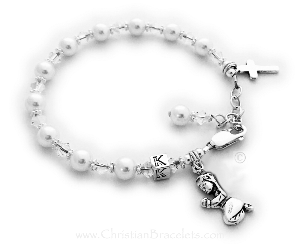 Confirmation Bracelets with Initials, Praying Girl Charm, Pearls, Crystals, Birthstone Charms and a Cross Charm