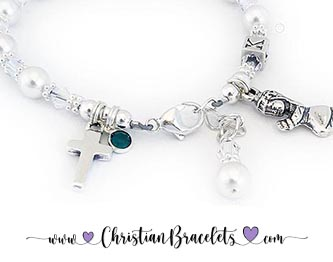 CB-CFM1 with a K monogram bead. This Confirmation Bracelet is shown with clear crystals, and they added a May or Emerald Birthstone Charm during the ordering process.