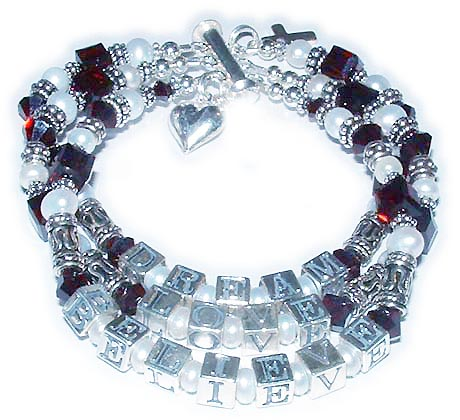 January Birthstone Bracelets - Ruby Birthstone Bracelet with pearls
