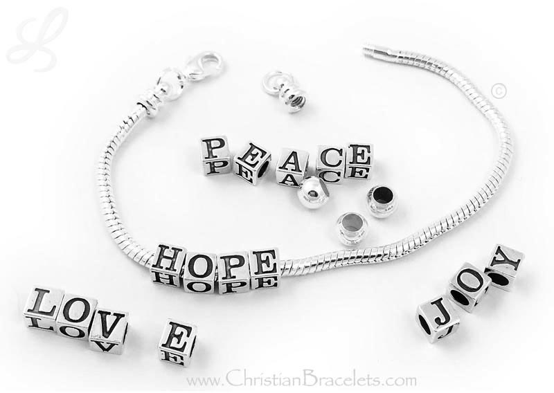 Advent Bracelet HOPE PEACE JOY LOVE - Add another word each week during Advent.