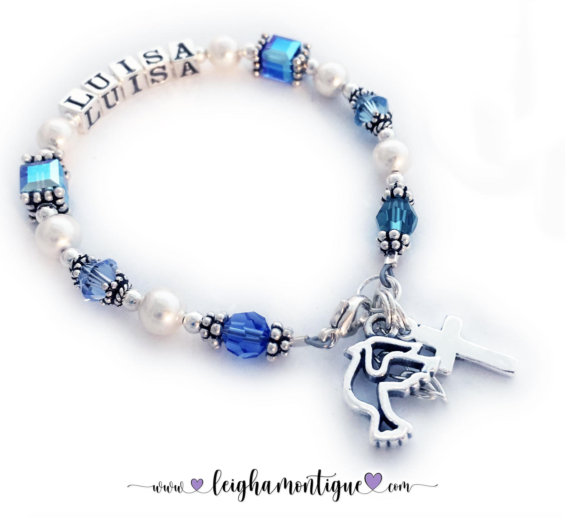 This is a First Communion, First Confession or any special event bracelet with a name and her favorite Swarovski crystal colors. They upgraded to a Heart Lobster claw clasp and added 2 charms: Dove charm and Simple Cross Charm.