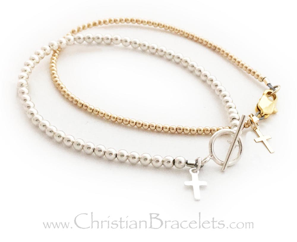 This is a 3mm sterling silver beaded bracelet with a Tiny Cross Charm and a Gold 2mm Tiny Cross Charm Bracelet. Go to the Sterling Silver Tiny Cross Bracelet Design...