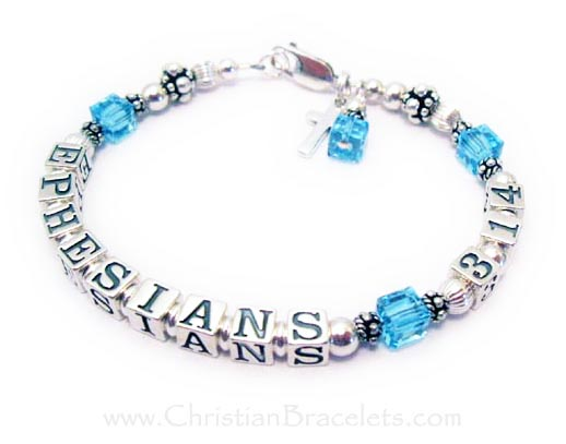 EPHESIANS 3:14 Bible Verse Jewelry with March or Aquamarine Swarovski Crystals
