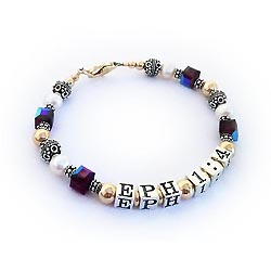 EPHESIAN 1:4 Bible Verse Bracelet Gold Sterling Silver and Swarovski Crystals