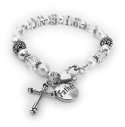 John 3:16 shown with clear or April birthstone crystals a Heart Lobster Claw Clasp. They added a Fancy Cross Charm and a FATHER charm. - CB-BVB-01
