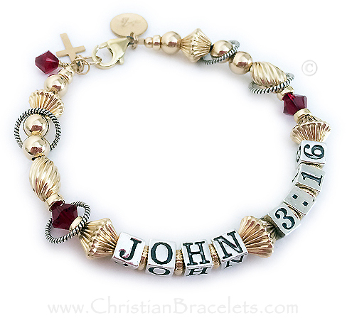 John 3:16 Bracelet - Bible Verse with an Initial Charm, Gold Cross Charm and a Birthstone Crystal Dangle - July Birthstone