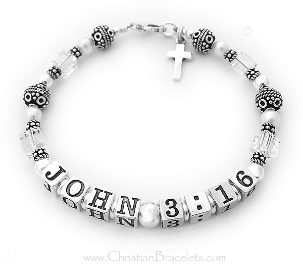 This John 3:16 bracelet is shown with Clear Swarovski Birthstone Crystals. Sterling Silver, Crystal & Pearl bracelet with your choose of Bible Verse and charms. They added a Simple Sterling Silver Cross charm.