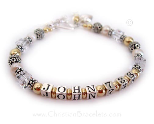 CB-BVB-08 Matthew, Mark, Luke or John Bible Verse Bracelets   John 7:38 is shown with 14k Gold-filled & .925 Sterling Silver & April or Clear Swarovski Crystal Witness Bracelet shown with an upgraded Heart Toggle Clasp and they added a Puffed Heart charm to their order.