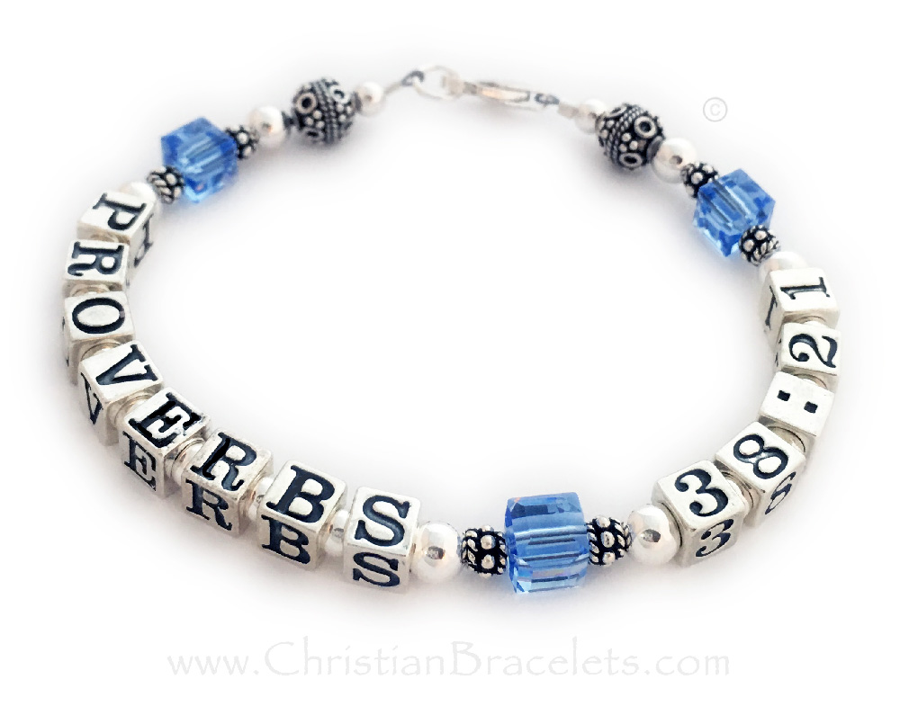 This Bible Verse #6 Bracelet is shown with Proverbs 38:21 and December or Blue Topaz Swarovski Crystals. They picked one of my beautiful free Sterling Silver Lobster Claw Clasps.