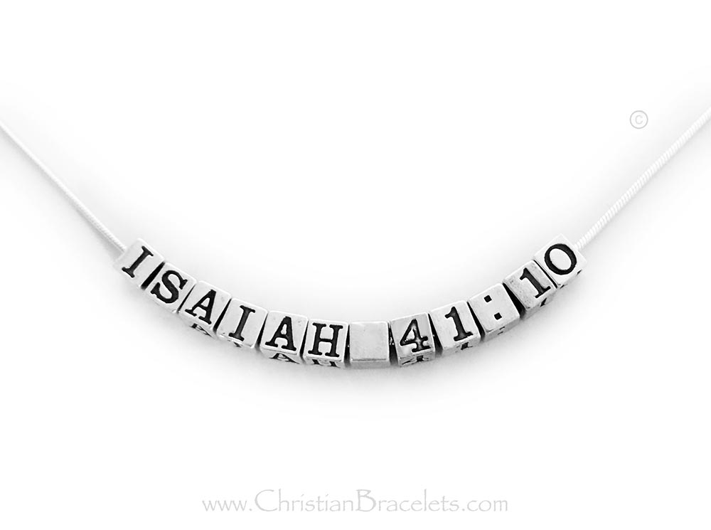 Isaiah 41:10 Bible Verse Necklace on a Snake Chain