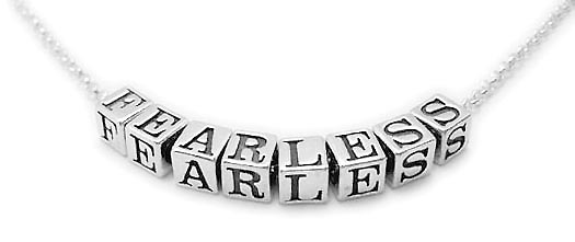 Sterling silver necklace that says FEARLESS - CB-N-Rolo4.5