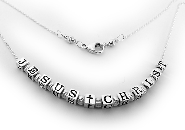 Sterling silver necklace that says JESUS CHRIST necklace - CB-N-Rolo4.5