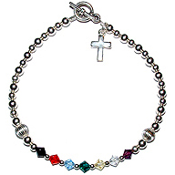 Petite Bracelet with sterling silver cross
