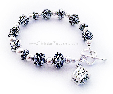 CB-Chunky Prayer Box Bracelet with Prayer Box Charm - shown with an upgraded clasp: Heart Toggle Clasp