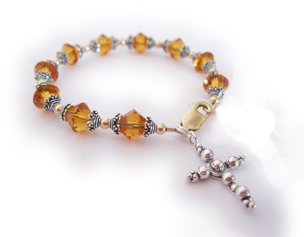 Topaz Rosary Bracelet with Beaded Cross Charm