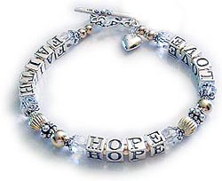 Faith Hope and Love Bracelet with gold beads and clear Swarovski crystals