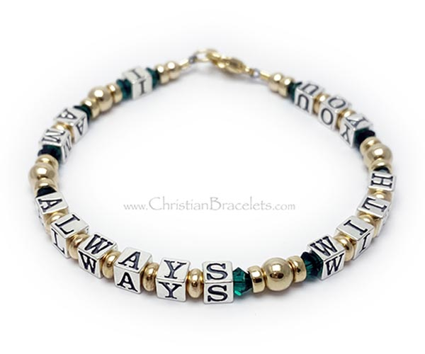 "Sterling silver ""I AM ALWAYS WITH YOU"" bracelet. The Message Bracelet displayed here is 6 3/4"" and is shown with the message ""I AM ALWAYS WITH YOU"" with December (light blue) Swarovski crystals and a sterling silver toggle clasp and several optional add-on charms."