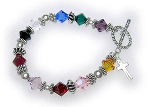 "A 6 1/2"" Psalm 24 Bracelet is shown with a Twisted Toggle Clasp. They added a Simple Cross Charm to their cart."
