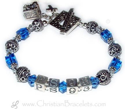 This Psalm Bracelet is shown with PS 93 with September or Sapphire Swarovski Crystals. They added a Prayer Box Charm and a Simple Cross Charm to their order. They also picked the Square Toggle Clasp.