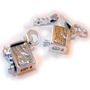 Sterling Silver Square Prayer Box Charm SSS02 (sold individually)