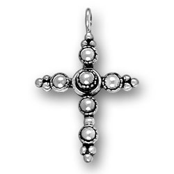 Sterling Silver Large Beaded Cross Pendant
