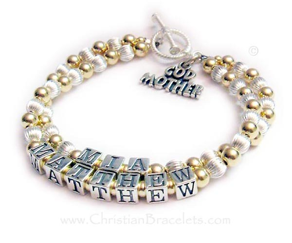 This is a 2-string Gold and Sterling silver Godmother Charm Bracelet and is shown with 2 Godchildren's names, MIA and MATTHEW. The Godmother charm is included in the price. They picked one of my free toggle clasps.