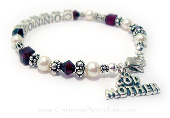 This sterling silver and Swarovski crytal and Pearl Godmother bracelet has CONNOR writtten on it and the Godchild's birthstone crystals. Garent or January Birthstone Crystals are shown. This bracelet is shown with an upgraded Heart Lobster Claw clasp. The GODMOTHER charm is included in the price.