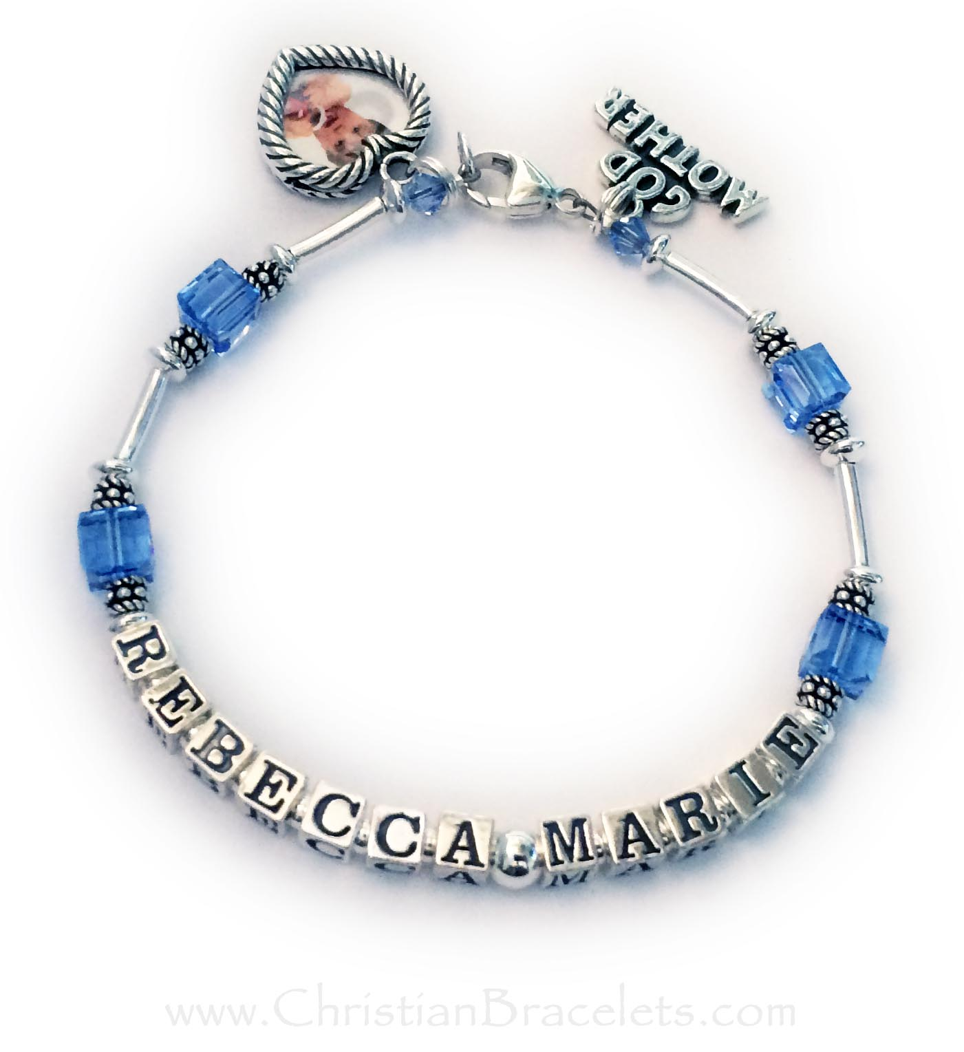 This Godmother bracelet has the God Child's name writtten on it and the Godchild's birthstone crystals. Sapphire or September Birthstone Crystals are shown. This bracelet is shown with one of my free lobster claw clasps. They added 2 charms: a GodMother charm and a Heart Picture Frame Charm. I would be happy to insert the pictures for you. Just send me the images after you place your order. The Square and Heart picture frame charms will hold 2 pictures (front and back).