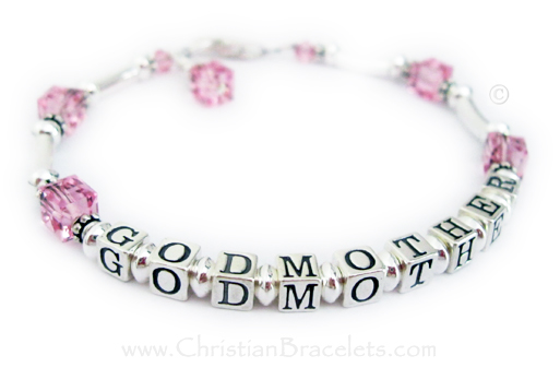 CB-GodMother-4  This Godmother bracelet has GODMOTHER writtten on it and the Godchild's birthstone crystals. Pink Birthstone Crystals are shown for Opal/October. This bracelet is shown with one of my free lobster claw clasps. They added a Birthstone Crystal Dangle to their order.