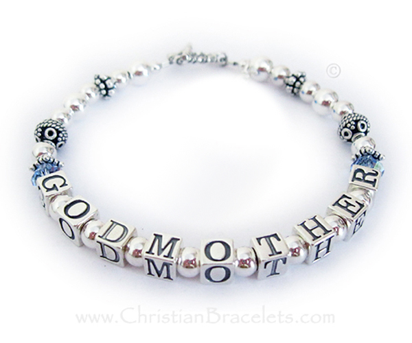 This Bali Godmother bracelet is shown with optional (free) Birthstone crystals before and after GODMOTHER and a Twisted Toggle clasp with an add-on birthstone charm.