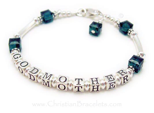 CB-GodMother-4  This Godmother bracelet has GODMOTHER writtten on it and the Godchild's birthstone crystals. Emerald or May Birthstone Crystals are shown. This bracelet is shown with one of my free lobster claw clasps. They added a Birthstone Crystal Dangle to their order.