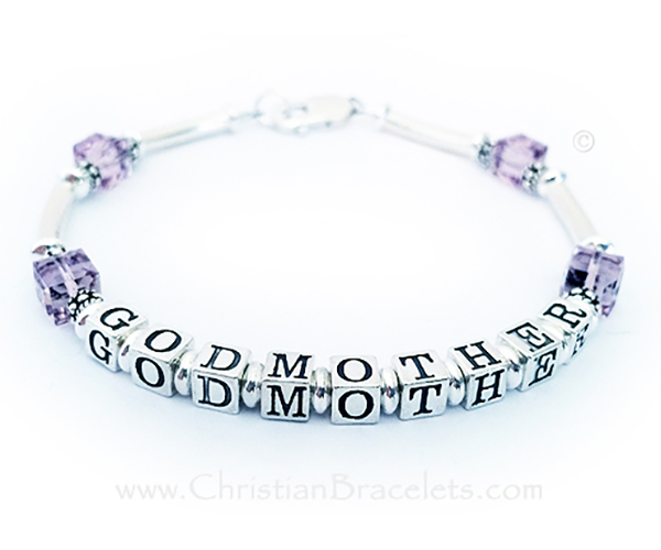 CB-GodMother-4 This Godmother bracelet has GODMOTHER writtten on it and the Godchild's birthstone crystals. Alexandrite Birthstone Crystals are shown for June. This bracelet is shown with one of my free lobster claw clasps.