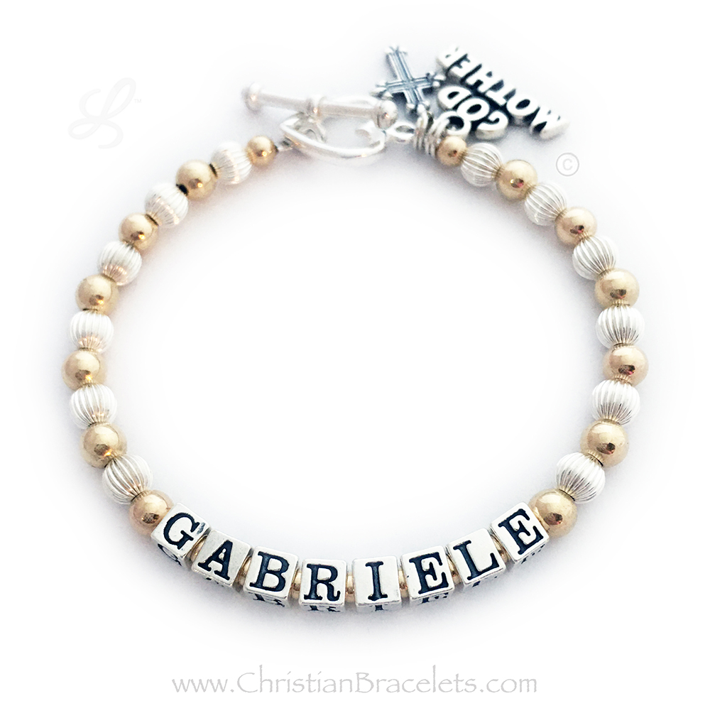 This Gold and Sterling silver Godmother Charm Bracelet is shown with the Godchild's name, Gabriele. The Godmother charm is included in the price. They added 2 additional things to their cart: A Fancy Cross Charm and they upgraded from the free clasp to a Heart Toggle clasp.
