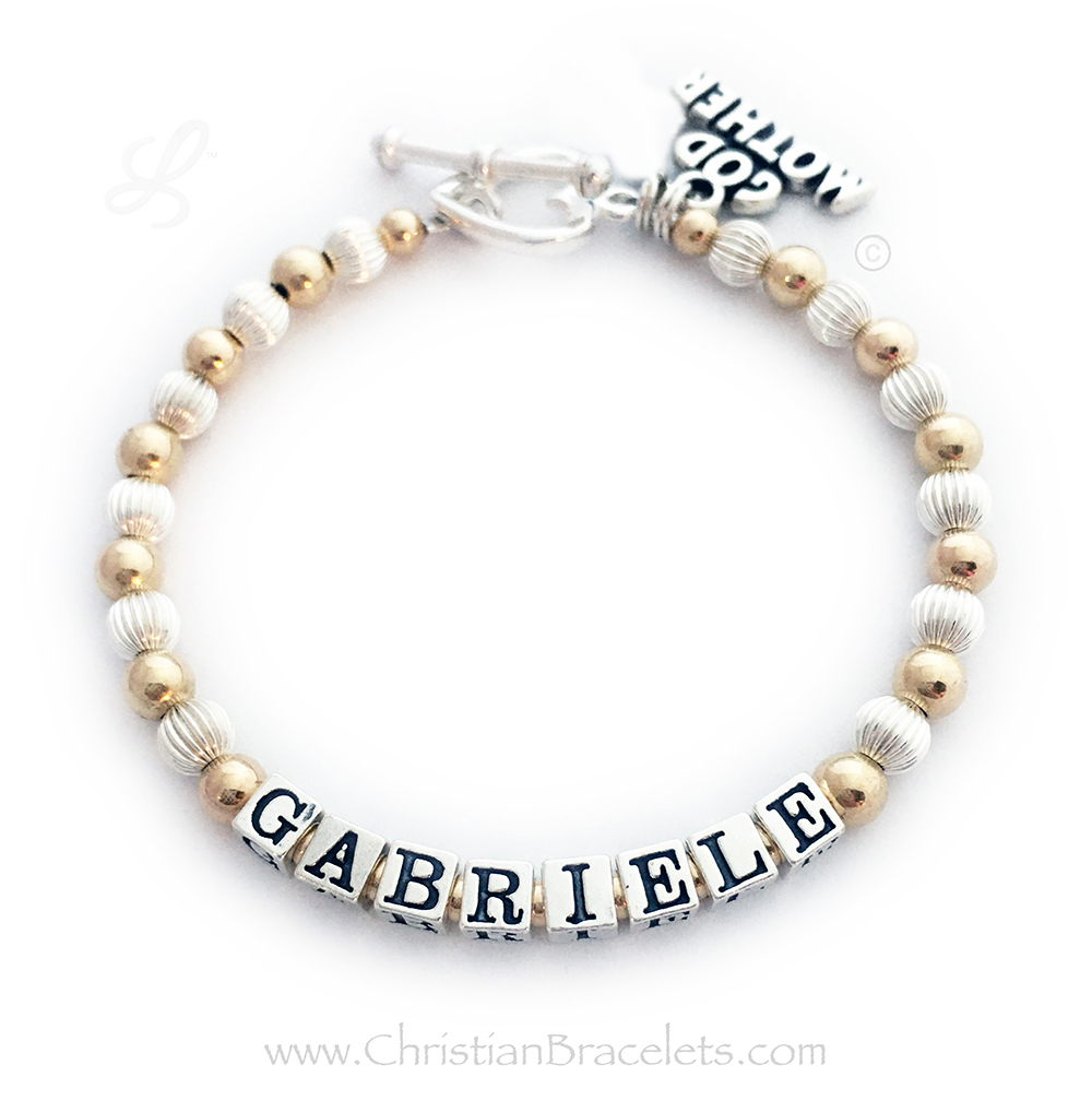 This Gold and Sterling silver Godmother Charm Bracelet is shown with the Godchild's name, Gabriele. The Godmother charm is included in the price.
