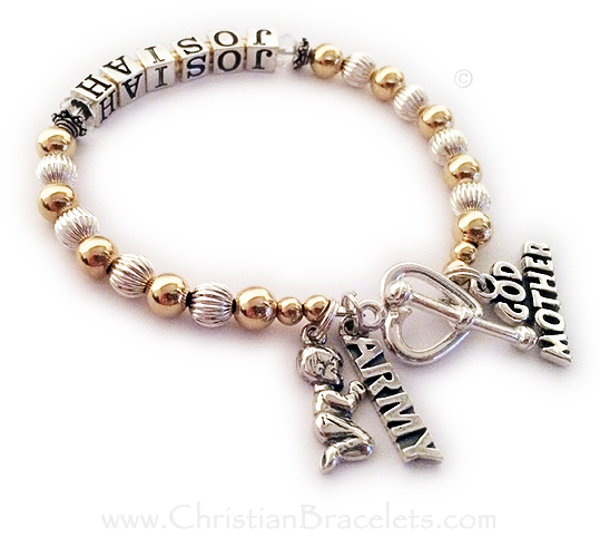 This Gold and Sterling silver Godmother Charm Bracelet is shown with the Godchild's name, Josiah and April Birthstone Crystals before and after his name. The Godmother charm is included in the price. They added 2 additional charms: A Praying Boy charm and an ARMY charm. They upgraded from the free clasp to a Heart Toggle clasp.