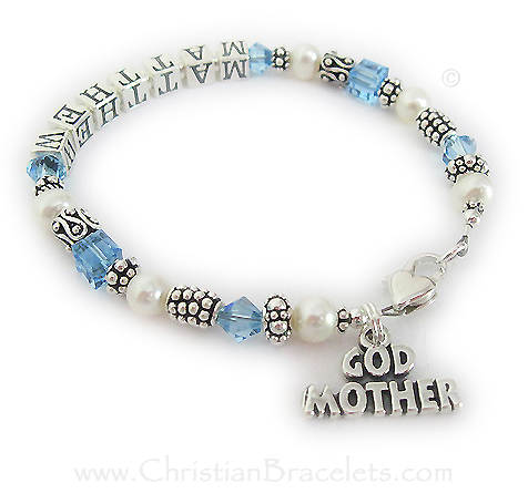 This sterling silver and Swarovski crystal and Pearl Godmother bracelet has Matthew writtten on it and the Godchild's birthstone crystals. Aquamarine or March Birthstone Crystals are shown. This bracelet is shown with an upgraded Heart Lobster Claw clasp. The GODMOTHER charm is included in the price.