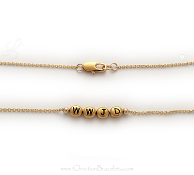 Gold WWJD - What Would Jesus Do Bracelet with Gold Block Letters