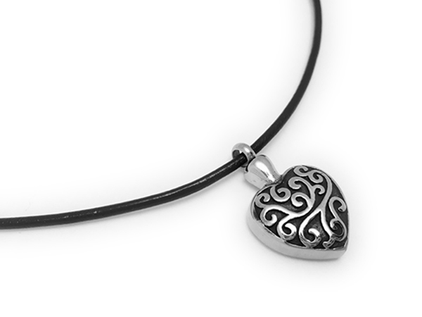 Heart Urn Charm Necklace - CB-HeartUrnNecklace1 - Leather and Sterling Silver