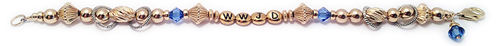 WWJD Bracelet - gold and blue crystals