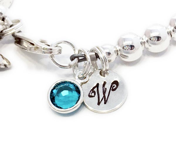 Monogram Charm and Birthstone Crystal Dangle Charm - Designs By Leigha