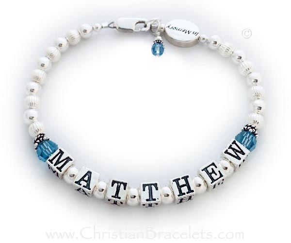 In Memory Bracelet with Birthstone Crystals and In Memory Bead - Shown with Matthew and march birthstones