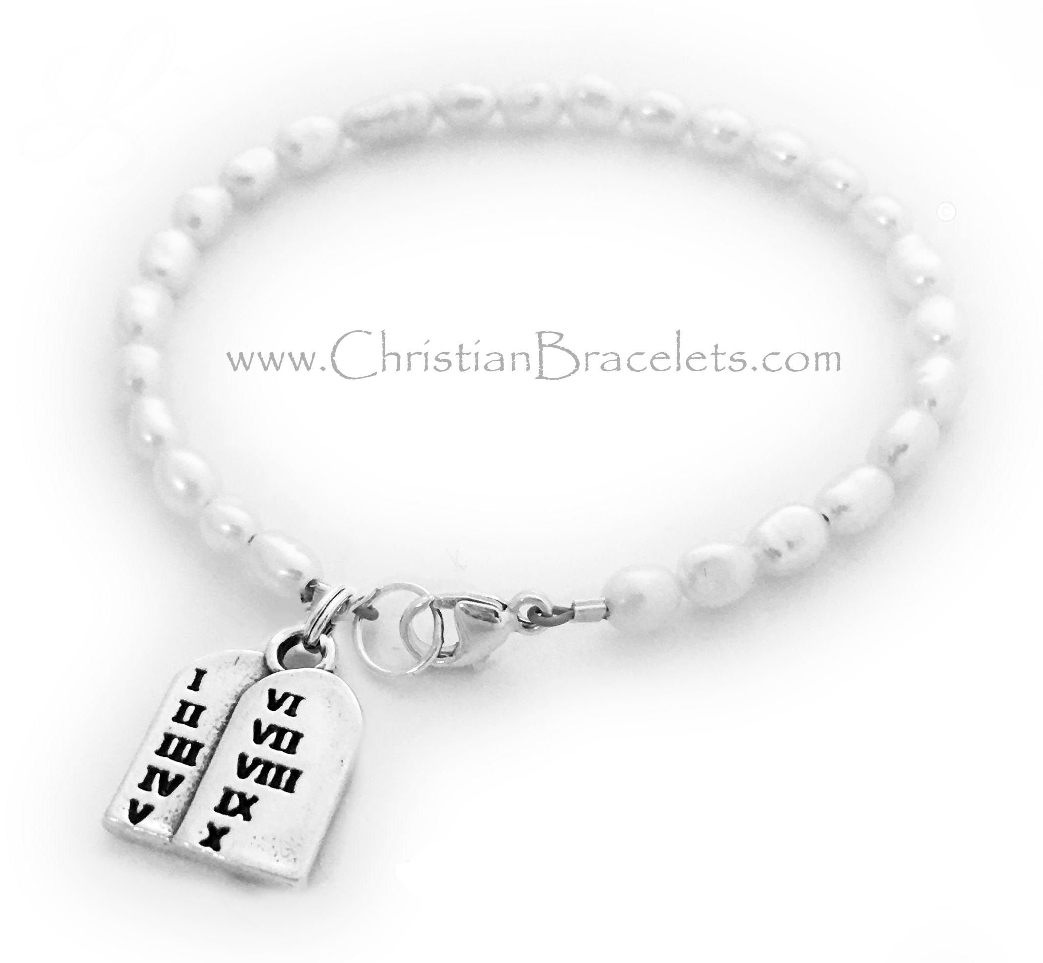 Pearl 10 Commandments Charm Bracelet