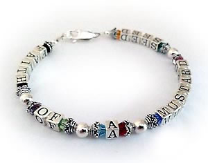 Colorful FAITH OF A MUSTARD SEED bracelet (sterling silver & Swarovski crystals)