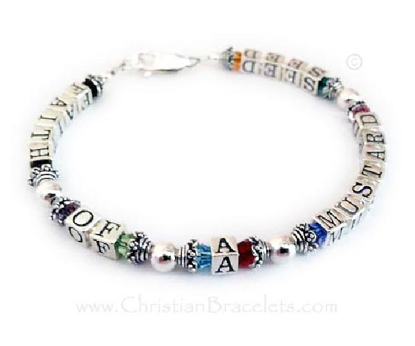 Faith of a Mustard Seed Bracelet with Swarovski Colorful Crystals. You choose the message and colors for each bracelet.
