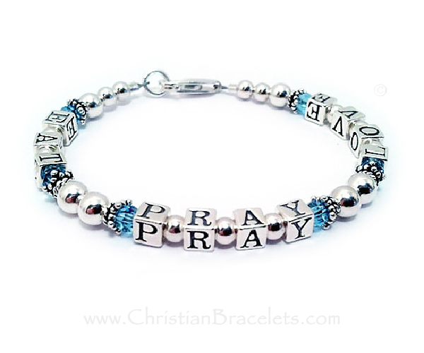 Eat Pray Love Bracelet with Birthstones - Aquamarine or March Birthstones shown