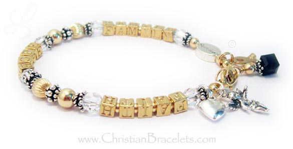 This Faith Hope Family Bracelet is shown with several add-ons: Puffed Heart Charm, Angel with Wings Charm, January Birthstone Crystal Charm, Gold Ribbon Charm. They also added a Message Bead.