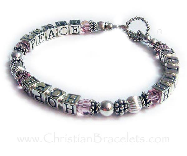 Faith Hope Peace Bracelet with a Filigree Love Charm and a Fancy Cross Charm - everything is .925 sterling silver or Swarovski crystals