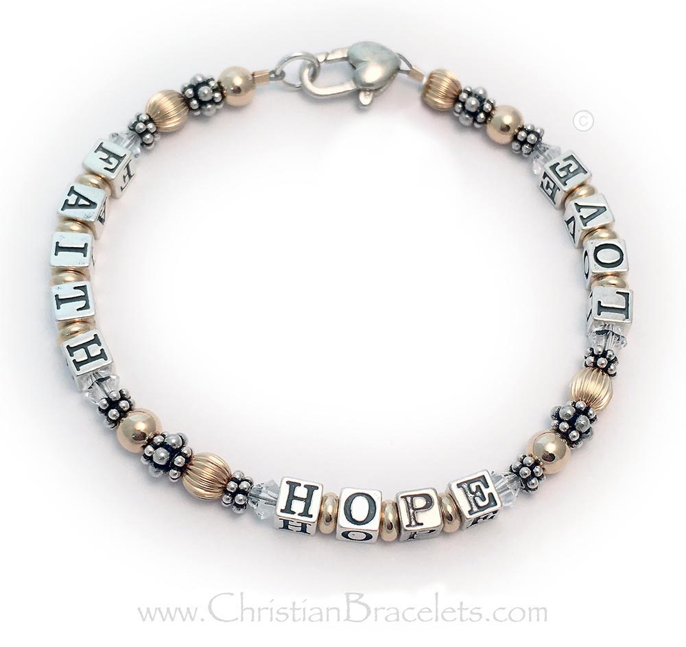 Faith Hope & Love Bracelet with a Tiny Cross Charm and Birthstones