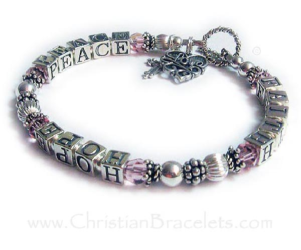 This Faith Hope Peace Bracelet is shown with 2 add-on charms: Filigreee Love harm and a Fancy Cross Charm. They picked the Twisted Toggle Clasp.