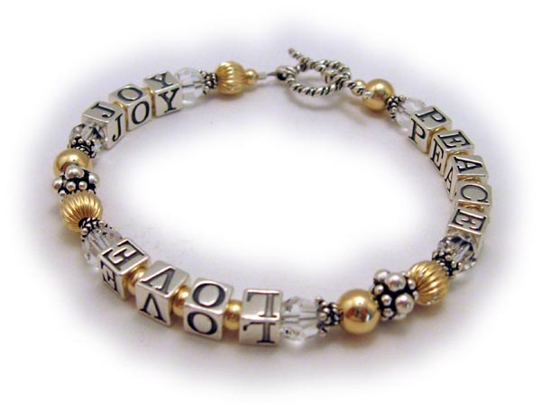 GOLD Beaded Peace Love and Joy Bracelet with Clear or April Birthstone Crystals